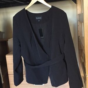 Eloquii Belted Asymmetrical Blazer 14 Black Ponte